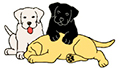 white,yellow and black cartoon puppies playing