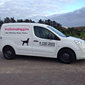 white van with sign writing walkies for doggies